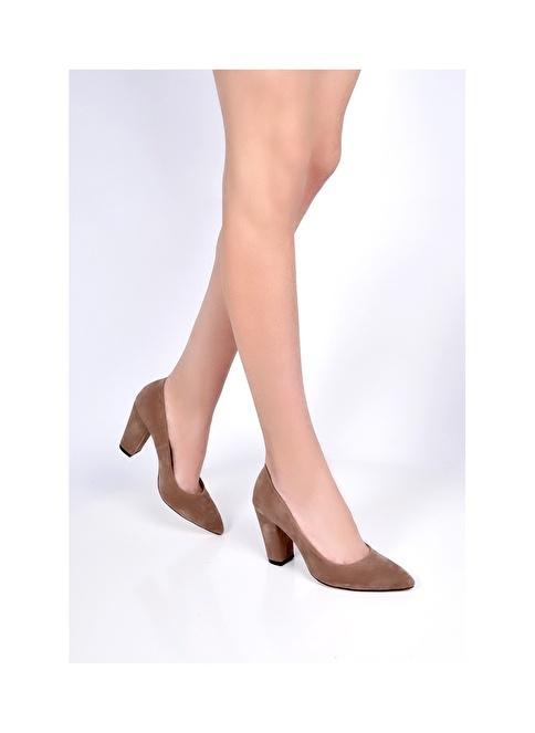 Sapin Kalın Topuklu Sivri Burun Ayakkabı Vizon